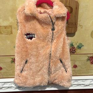 Betsey Johnson pink fuzzy vest
